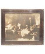 Vintage Antique Wood Brown Ornate Picture Frame Print The Doctor Luke Fildes - $79.19