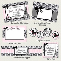 Paris and Poodles Party Package: Invitation, Birthday, Baby & Bridal Shower - $22.40