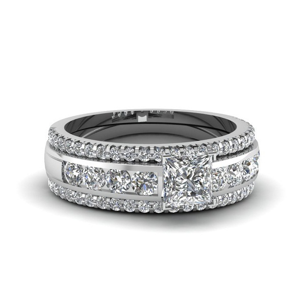 Engagement Ring Wedding Band 3Pcs Set 14k White Gold Plated 925 Sterling Silver