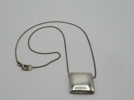 Sterling Silver Square Pendant Necklace Hanging Minimalist 5.0 Grams 925 - $19.34