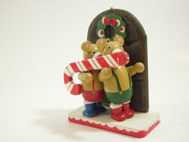 Vintage Xmas Bear Carry Candy Cane Christmas Decoration Wood Hand Paint ... - $10.89