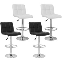 Set of 2 Barstool High Back Morden Adjustable Height Swivel Seat White/B... - $118.99