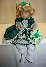 Sitting Plastic Doll Blonde Hair Green Eyes Green Dress Shamrocks - $19.79