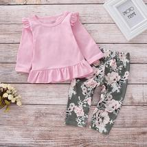 2pcs Merry Chirstmas Baby Girls Clothes Set Floral Print Long Sleeve Ruffle Tops image 2