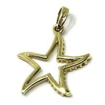SOLID 18K YELLOW GOLD PENDANT STAR WITH CUBIC ZIRCONIA, 19mm, 0.75 inches image 3
