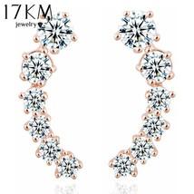 17KM® Star Element Crystal Earrings Ear Hook For Women Silver Color Stud... - $4.62