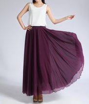 CHIFFON MAXI SKIRT Gray Black Blackberry Maxi Silk Chiffon Skirt Wedding Skirts image 6
