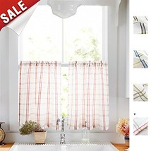 White Tier Curtains for Kitchen, Red and Taupe Check on White Sheer Curt... - $15.61