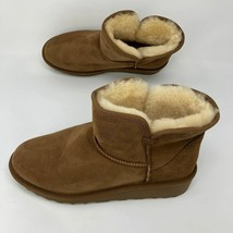 Brand New Kirkland Signature Ladies' Sheep Skin Shearling Short Boots Chestnut image 2