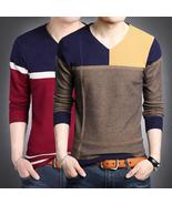 2017 NEW striped men pullover sweaters masculino male casual V-Neck chri... - $66.21+