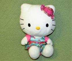 "10"" Hello Kitty Candy Dress Sanrio Stuffed Animal Plush Doll Sitting 2014 Toy - $21.78"