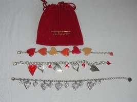 3 Vintage Bracelets Heart Charms Silver w Enamel & 1 Pave Rhinestone Talbot's - $25.73