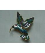 VINTAGE GOLD TONE BLUE ENAMEL HUMMINGBIRD PIN BROOCH - $16.95