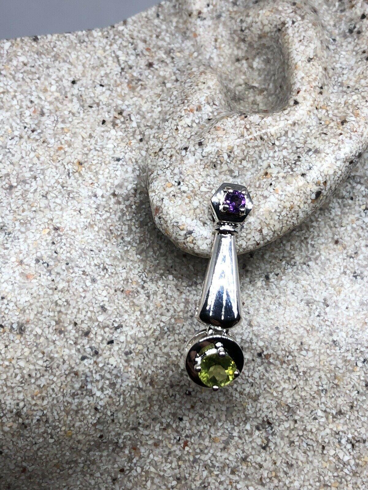 Primary image for Vintage Green Peridot Earrings 925 Sterling Silver Genuine Stone Dangle