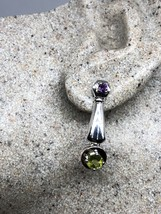 Vintage Green Peridot Earrings 925 Sterling Silver Genuine Stone Dangle - $106.92