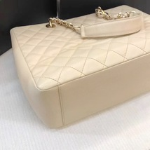 AUTHENTIC CHANEL QUILTED CAVIAR GST GRAND SHOPPING TOTE BAG BEIGE GHW image 5