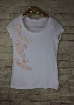 Ann Taylor Loft white with light pink floral applique cap sleeve blouse ... - $5.89