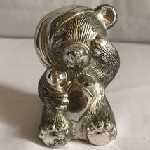 Vintage Silver Baby Bear Money Bank Made in Japan Nightcap Childs Bank - $28.70