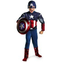 Halloween Captain America Child Costume Comic Kids Boys Superhero Muscle... - $39.99