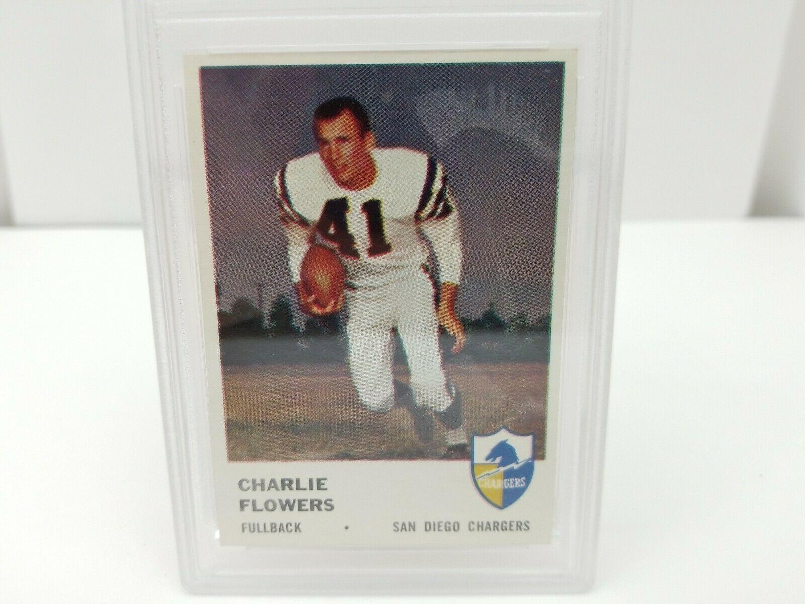1961 Fleer Football Charlie Flowers #156 PSA 8 NM-MT San Diego Chargers Card image 4