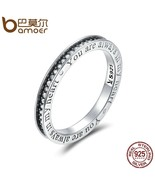 BAMOER 925 Sterling Silver You are Always in MY Heart Letter Pave CZ Fin... - $22.81