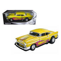 1957 Chevrolet Drag Car Yellow With Flames 1/18 Diecast Car Model by Hot... - $68.61