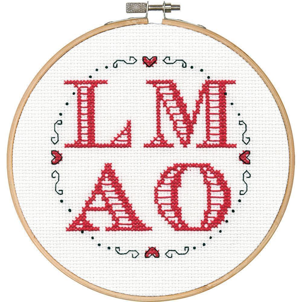 70-74627 Simplicity LMAO with Cotton Thread, Aida Counted Cross Stitch New - $19.31
