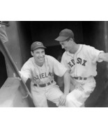 BOB FELLER & TED WILLIAMS 8X10 PHOTO CLEVELAND INDIANS RED SOX BASEBALL PICTURE