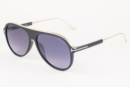 Tom Ford NICHOLAI Shiny Black Gold / Gray Gradient Sunglasses TF624 01C ... - $224.42