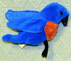FOLKTAILS MINI BLUE BIRD FINGER PUPPET FULL BODY STUFFED ANIMAL REALISTI... - $11.88
