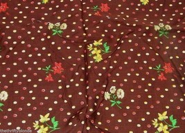 Vintage Brown Floral Fabric Quilting Cotton 15 X 17 Inches 15201 - $7.91