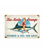 Blue Marlin Lounge Bathing Beauty Pin Up by Ralph Burch Metal Sign - $29.95