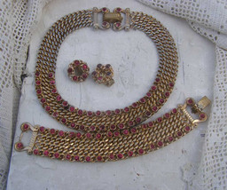 Vintage Industrial Curb link Bold Rope Chunky Pink Rhinestone Necklace B... - $65.33