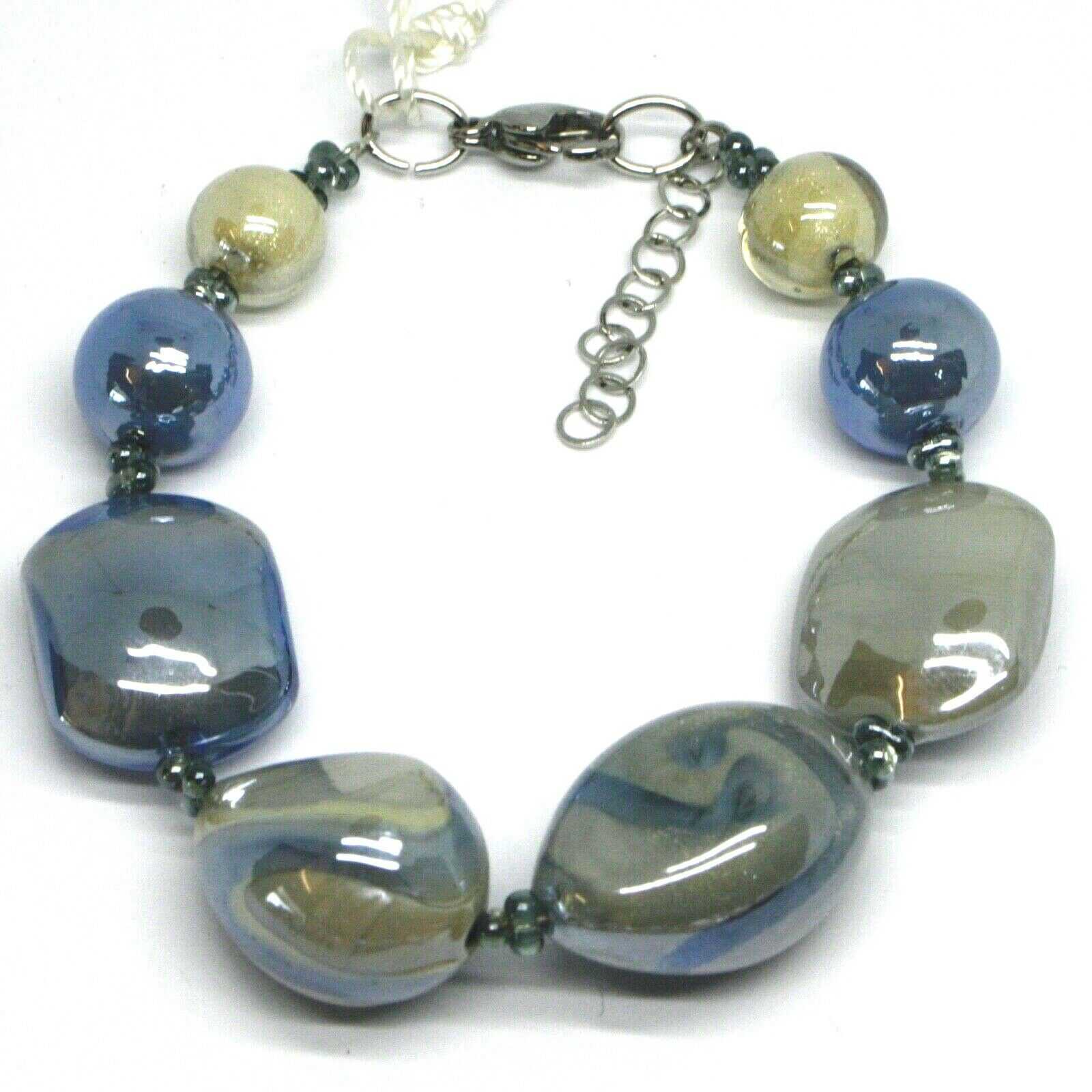 BRACELET BLUE GRAY ROUNDED DROP, SPHERE, EXAGON MURANO GLASS MADE IN ITALY