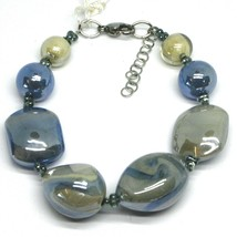 BRACELET BLUE GRAY ROUNDED DROP, SPHERE, EXAGON MURANO GLASS MADE IN ITALY image 1