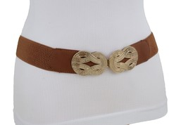 Women Brown Stretch Waistband Skinny Brown Fashion Belt Gold Infinity Bu... - $13.71