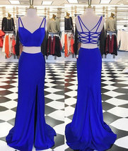 Elegant Criss Cross Royal Blue Two Piece Prom Dresses with Split Side - $129.99