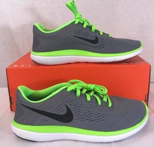 NEW NIKE FLEX 2016 RUN Gray/Green Athletic Training Casual Sneakers Sz: 7Y - $51.14