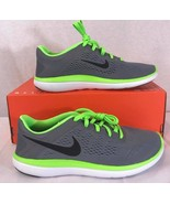 NEW NIKE FLEX 2016 RUN Gray/Green Athletic Training Casual Sneakers Sz: 7Y - $51.14