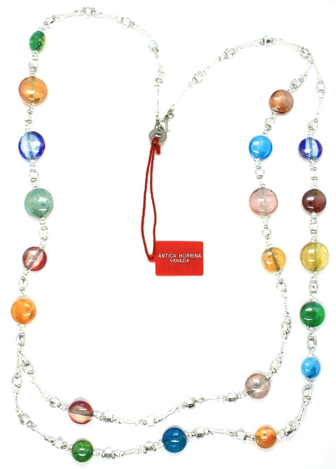 Necklace Antica Murrina Venezia CO905A38, Discs, Two Wires, Multicolour, 80 CM