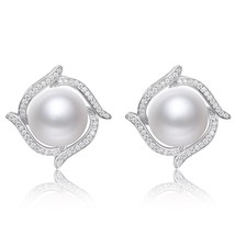 Sterling Silver Zircon Freshwater Pearl Earrings - $82.44