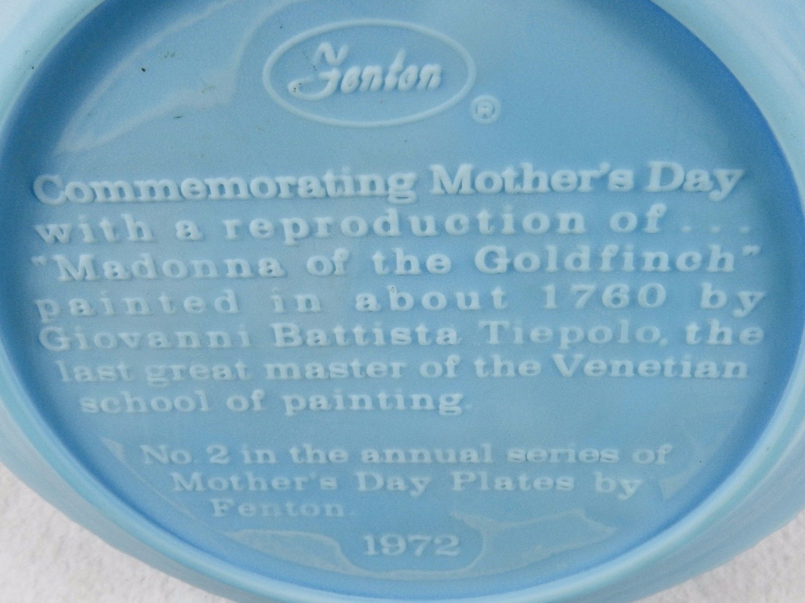 "Blue Satin Glass Plate, ""Madonna...Goldfinch"" 1972 Mothers Day, Fenton Art Glass"