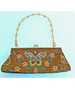 VTG Beaded Butterfly Handbag Purse Brown Satin Embroidered - $37.39