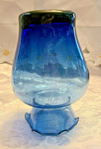 "Vintage Ruffled Collar Blue Glass Vase 6"" by 6"" image 4"
