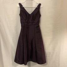 Davids Bridal Womens 6 Dress Purple A Line Bridesmaid Knee Length Sleeve... - $29.98