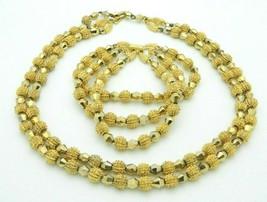 Crown Trifari Gold Textured Necklace Bracelet Matching Set Vintage - $64.34