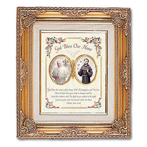 Primary image for Catholic & Religious Gifts, FRAMED ART GOLD POPE FRANCIS 13.25X15.5