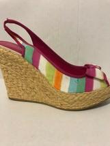 Coach Grace Pink Watercolor Slingback Wedge Peeptoe Shoe Size 8.5 - $46.53