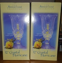 Lot 2 Cut glass the American Crystal collection Hurricane Candle Holder ... - $37.37