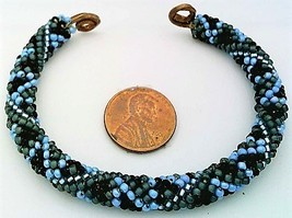 Blue Bead Crochet Rope On Copper Bracelet 2 - $27.19